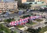 В центре Москвы, хорваты развернули баннер с надписью «Спасибо России»